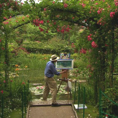 David Dunlop Painting at Monet's Waterlily Garden