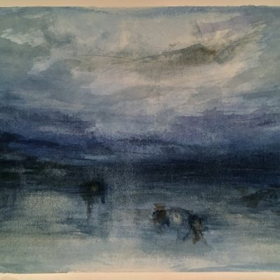 """Homage to Turner - Moonlight on the Lagoon, Watercolor on Paper, 7"""" x 10"""""""