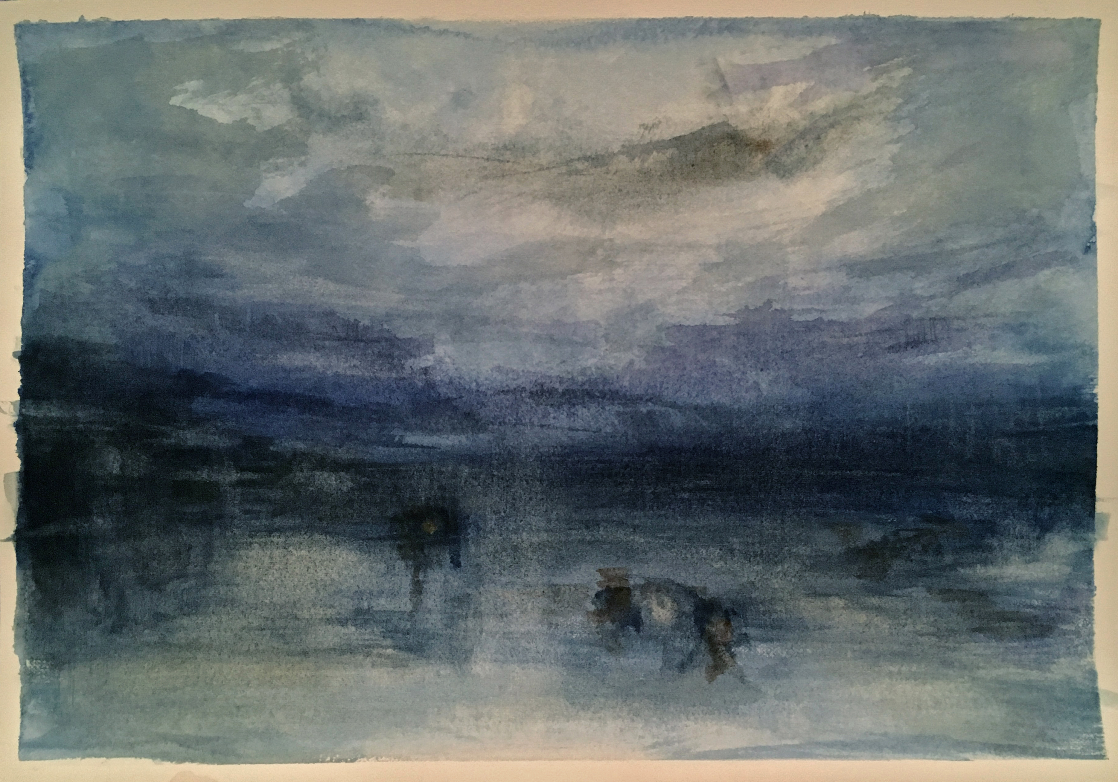 "Homage to Turner - Moonlight on the Lagoon, 7"" x 10"""
