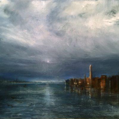 """Venetian Twilight Oil on Linen,  14"""" x 24"""""""
