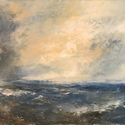 """Cayman Seas with Turner 1, Oil on Linen, 17"""" x 10"""""""