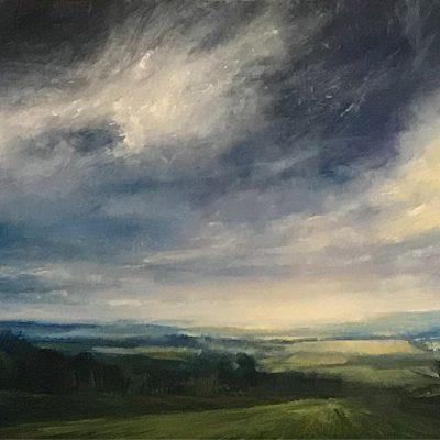 """Collalto View, Oil on Linen, 20"""" x 40"""""""