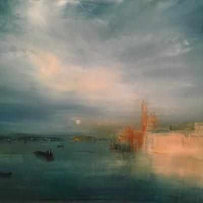 "Homage to Turner 2 -Venice, Oil on Panel, 18"" x 24"""