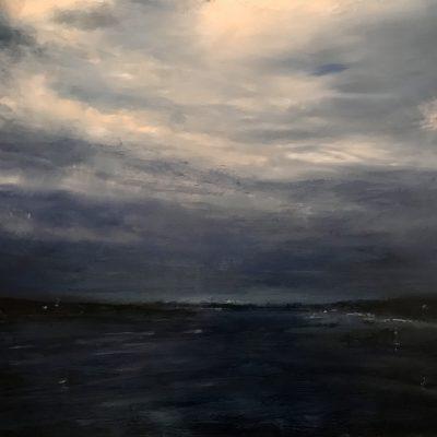 """Sea at Night. OIl on Linen, 16"""" x 24"""""""
