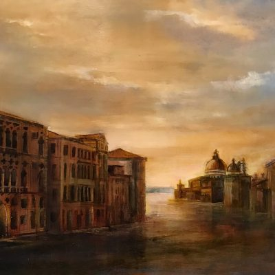 "Venetian Morning, Oil on Aluminium, Panel, 12"" x 18*"